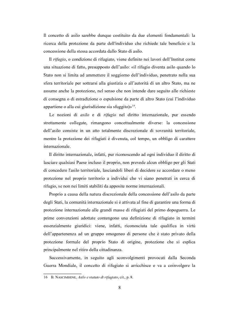 """Anteprima della tesi: Le nuove politiche europee sul diritto d'asilo. """"La protezione dei rifugiati e dei richiedenti asilo nello spazio comune europeo di libertà, sicurezza e giustizia"""", Pagina 6"""