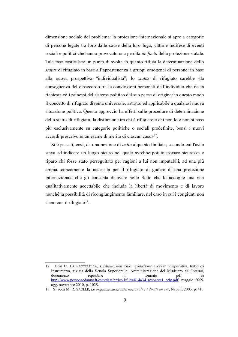 """Anteprima della tesi: Le nuove politiche europee sul diritto d'asilo. """"La protezione dei rifugiati e dei richiedenti asilo nello spazio comune europeo di libertà, sicurezza e giustizia"""", Pagina 7"""