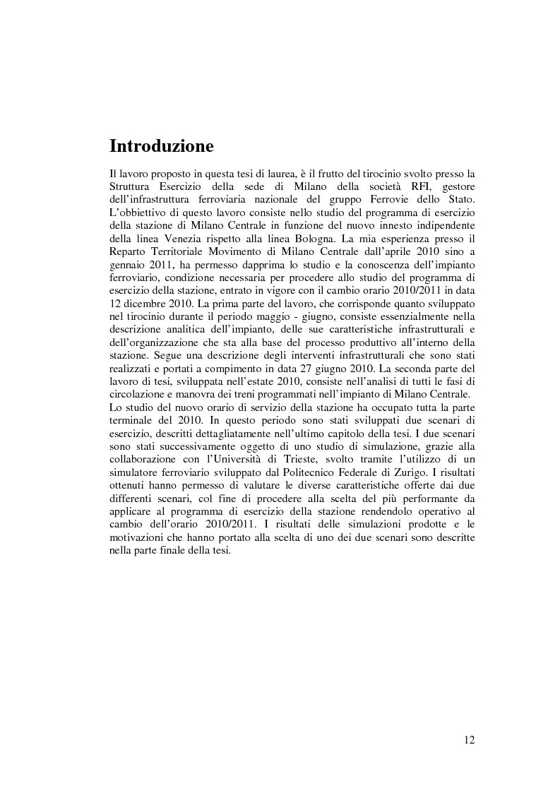 Anteprima della tesi: Programma di esercizio della stazione di Milano Centrale in funzione dell'attivazione dell'innesto della nuova linea Venezia, Pagina 2