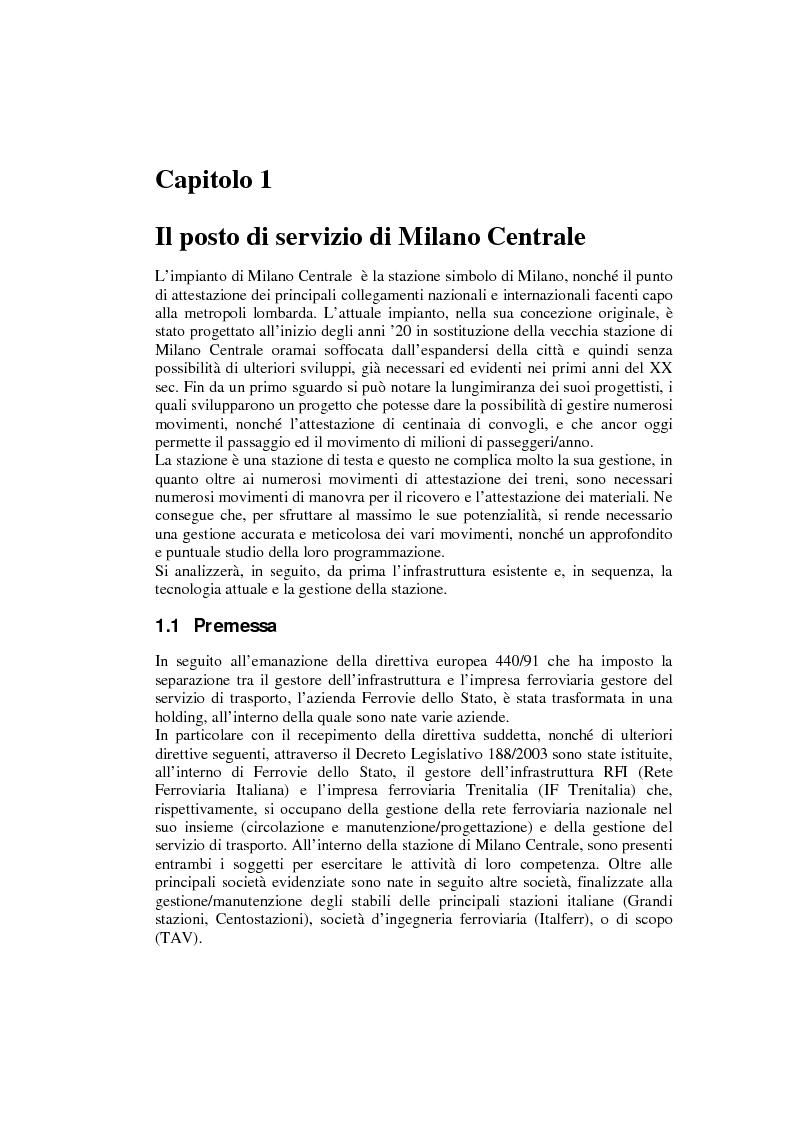 Anteprima della tesi: Programma di esercizio della stazione di Milano Centrale in funzione dell'attivazione dell'innesto della nuova linea Venezia, Pagina 3