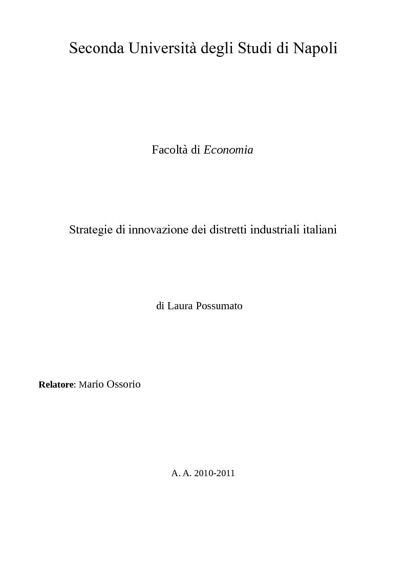Anteprima della tesi: Strategie di innovazione dei distretti industriali italiani, Pagina 1