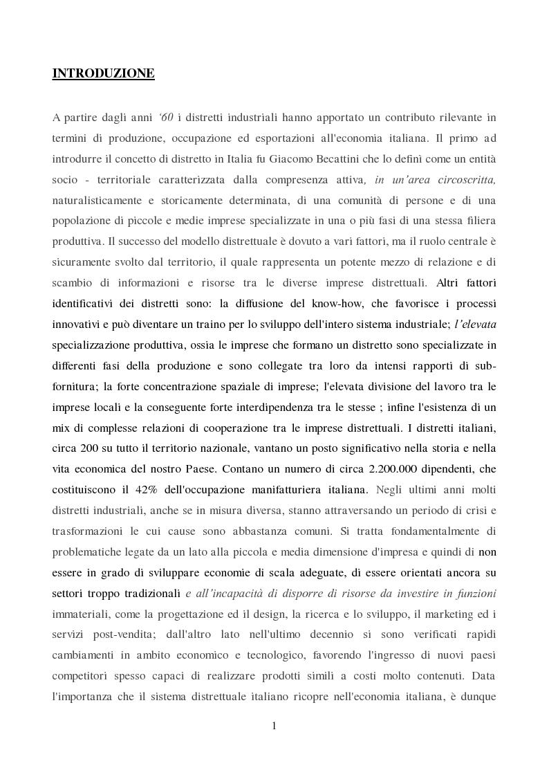 Anteprima della tesi: Strategie di innovazione dei distretti industriali italiani, Pagina 2