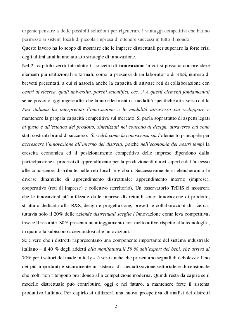 Anteprima della tesi: Strategie di innovazione dei distretti industriali italiani, Pagina 3