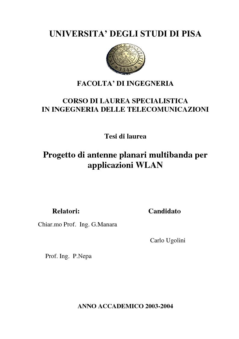 Anteprima della tesi: Progetto di antenne planari multibanda per applicazioni WLAN, Pagina 1