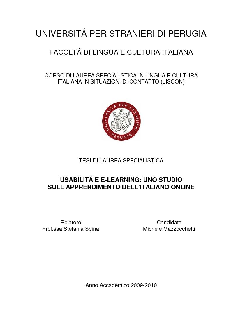 Anteprima della tesi: Usabilità e e-learning: uno studio sull'apprendimento dell'italiano online, Pagina 1