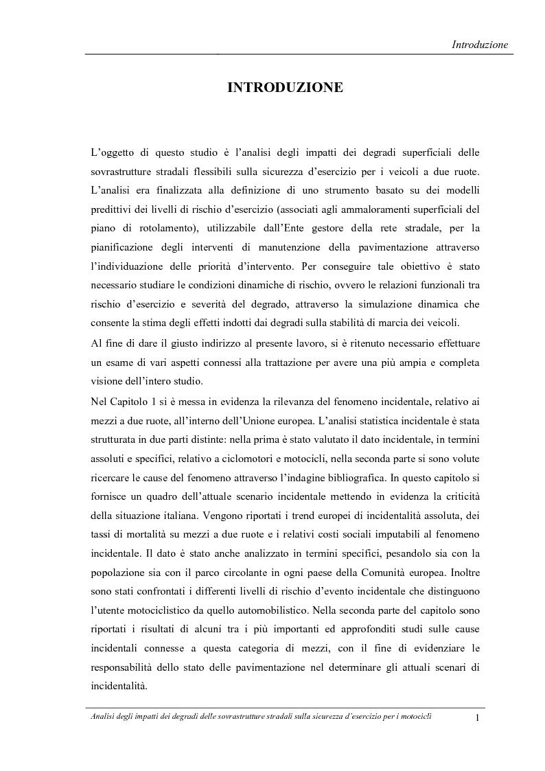 Anteprima della tesi: Analisi degli impatti dei degradi superficiali delle sovrastrutture stradali sulla sicurezza d'esercizio per i veicoli a due ruote, Pagina 2