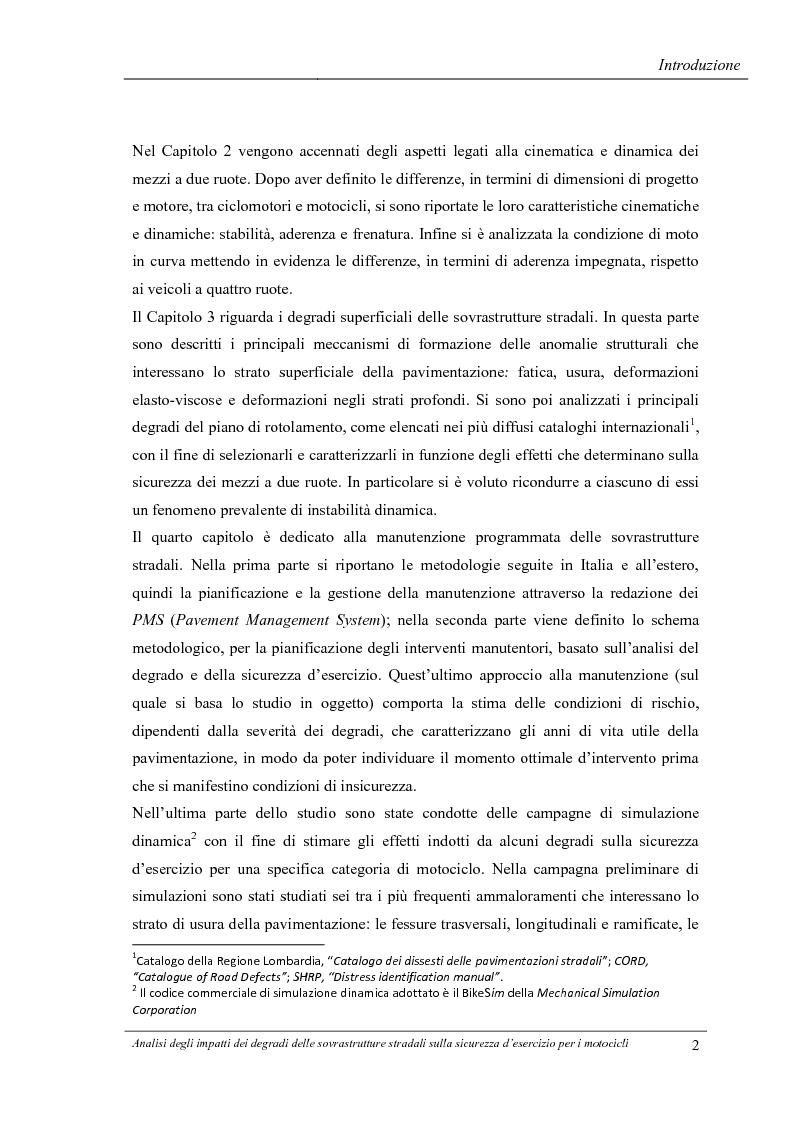 Anteprima della tesi: Analisi degli impatti dei degradi superficiali delle sovrastrutture stradali sulla sicurezza d'esercizio per i veicoli a due ruote, Pagina 3