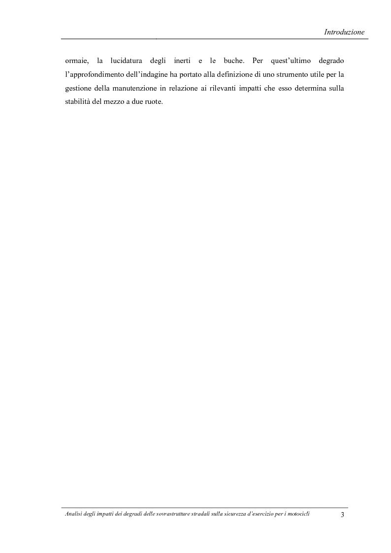 Anteprima della tesi: Analisi degli impatti dei degradi superficiali delle sovrastrutture stradali sulla sicurezza d'esercizio per i veicoli a due ruote, Pagina 4