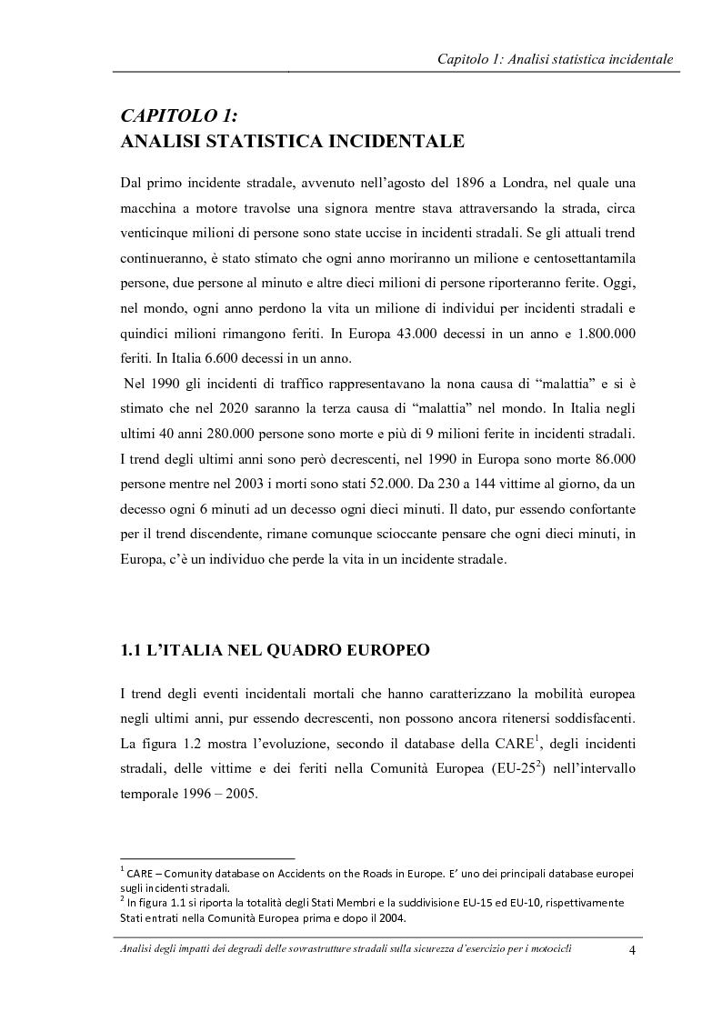 Anteprima della tesi: Analisi degli impatti dei degradi superficiali delle sovrastrutture stradali sulla sicurezza d'esercizio per i veicoli a due ruote, Pagina 5