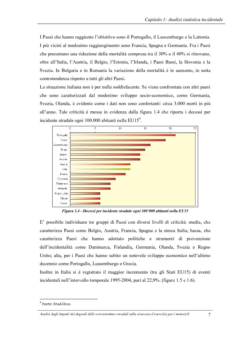 Anteprima della tesi: Analisi degli impatti dei degradi superficiali delle sovrastrutture stradali sulla sicurezza d'esercizio per i veicoli a due ruote, Pagina 8