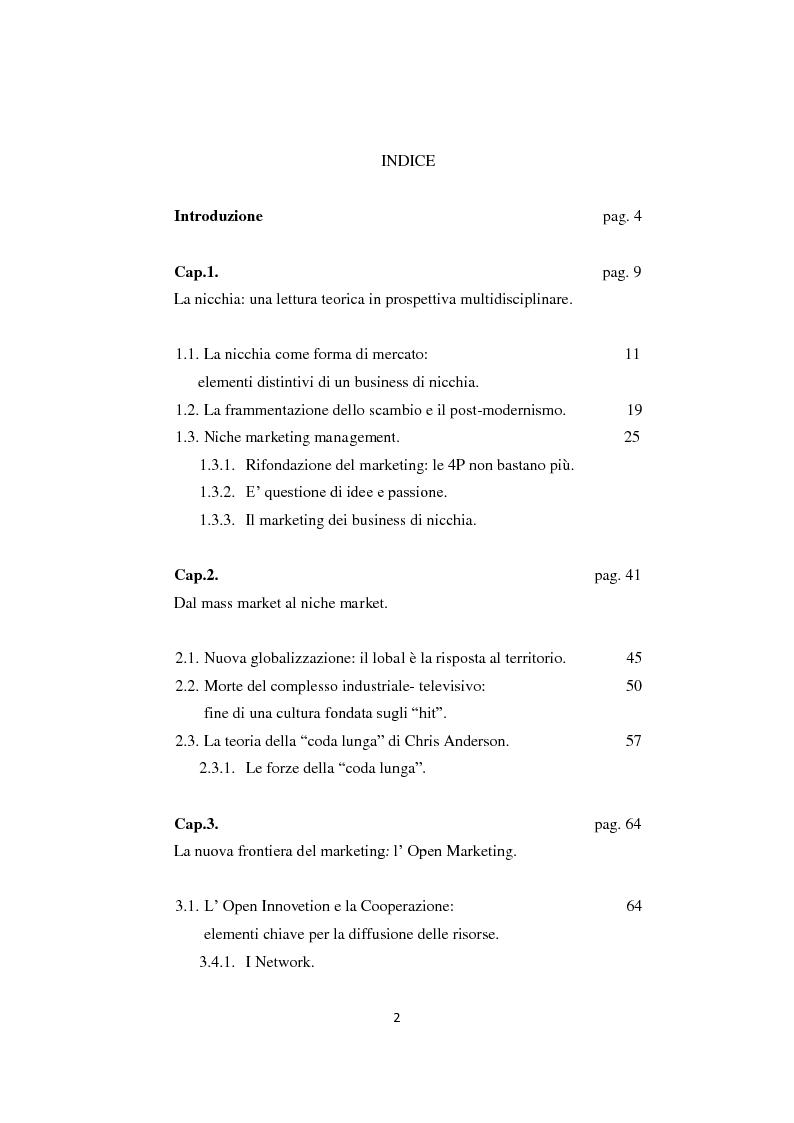 """Indice della tesi: I business di nicchia e le strategie di open marketing. Il caso """"The Hub Milano"""", Pagina 1"""