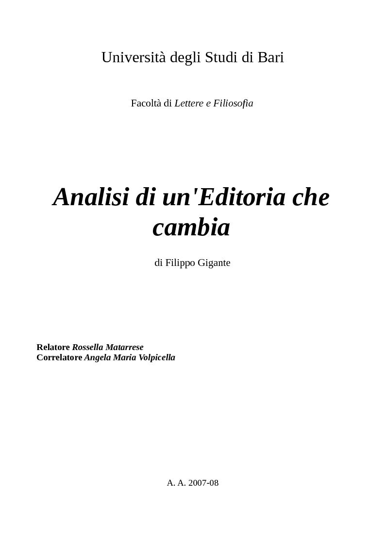 Anteprima della tesi: Analisi di un'Editoria che cambia, Pagina 1