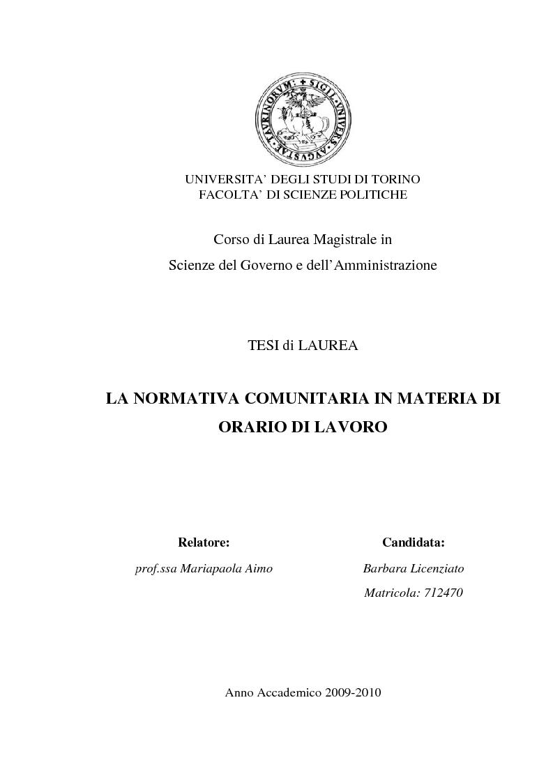 Anteprima della tesi: La normativa comunitaria in materia di orario di lavoro, Pagina 1