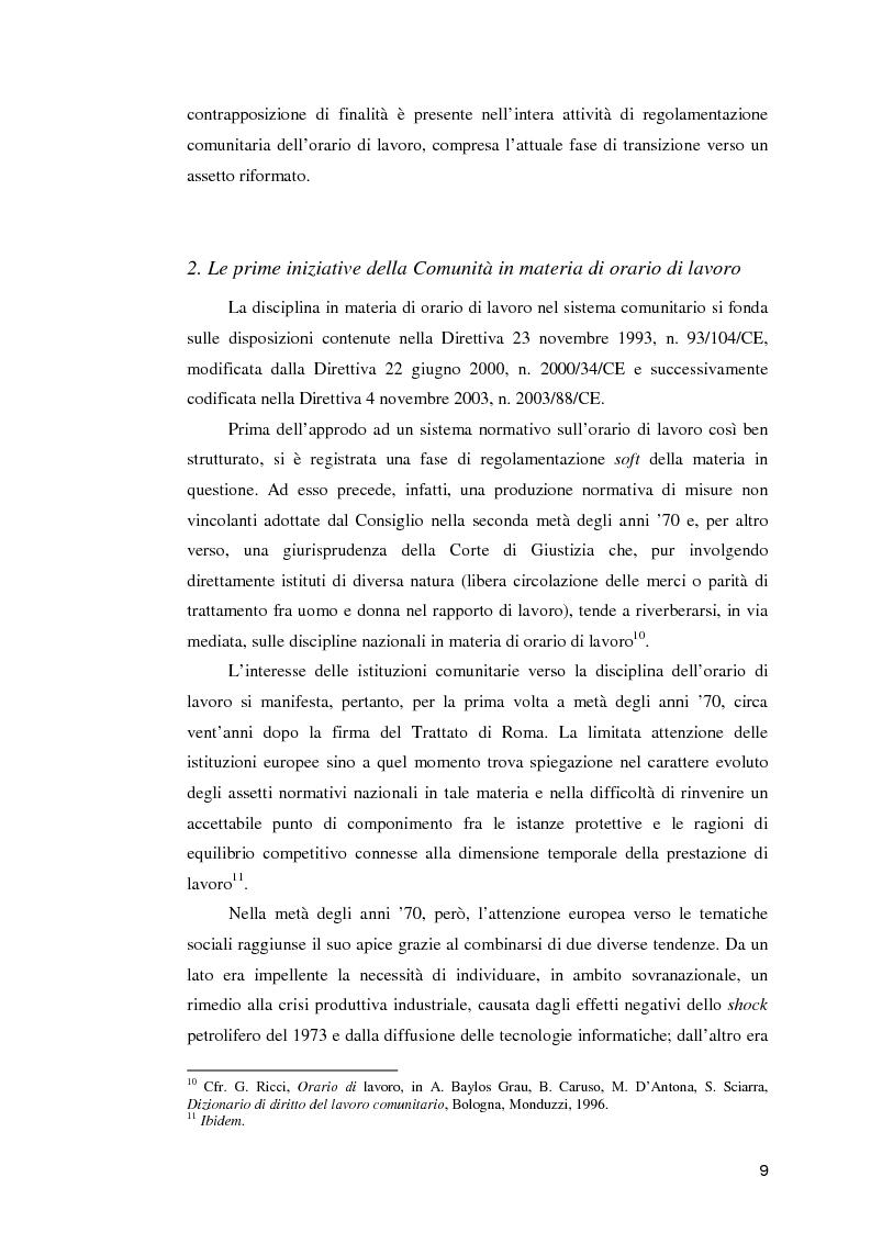 Anteprima della tesi: La normativa comunitaria in materia di orario di lavoro, Pagina 4
