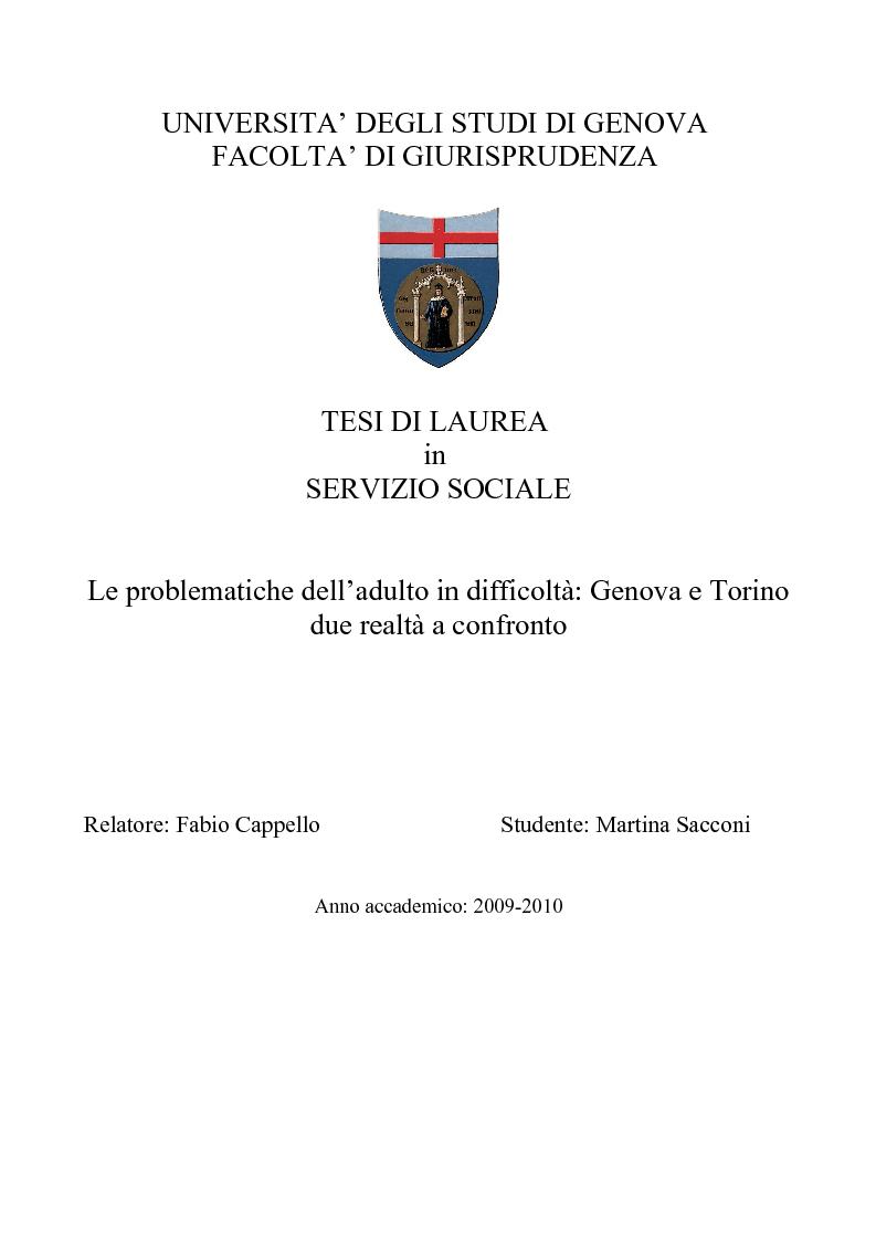 Anteprima della tesi: Le problematiche dell'adulto in difficoltà: Genova e Torino due realtà a confronto, Pagina 1