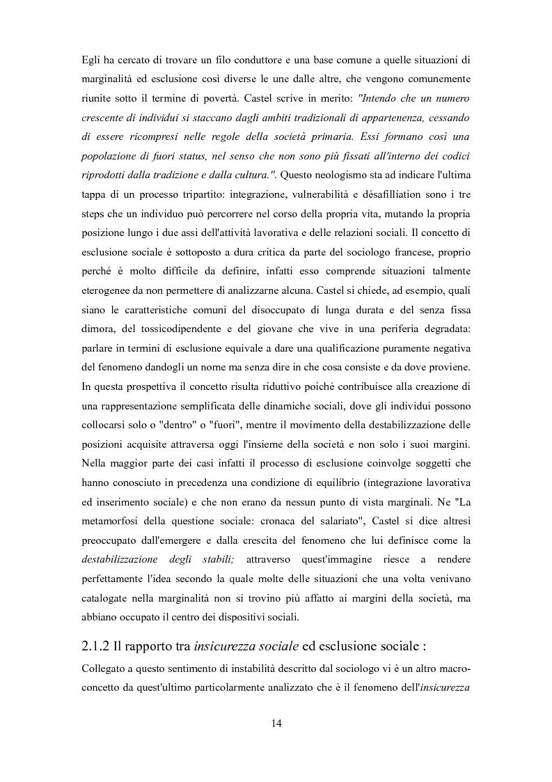 Anteprima della tesi: Le problematiche dell'adulto in difficoltà: Genova e Torino due realtà a confronto, Pagina 11