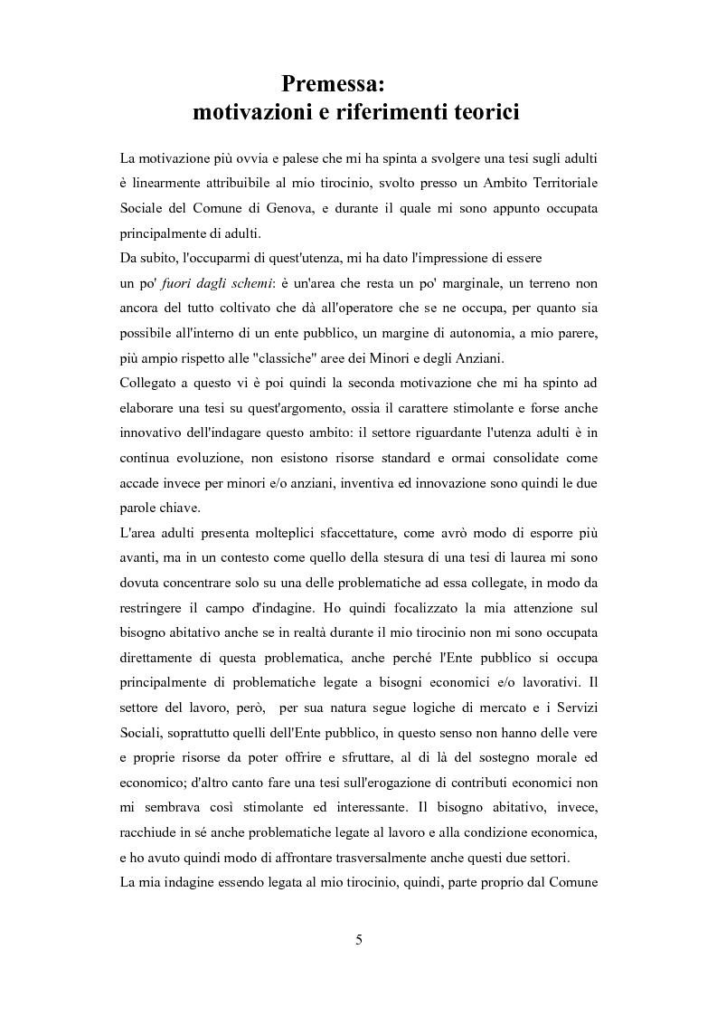 Anteprima della tesi: Le problematiche dell'adulto in difficoltà: Genova e Torino due realtà a confronto, Pagina 2