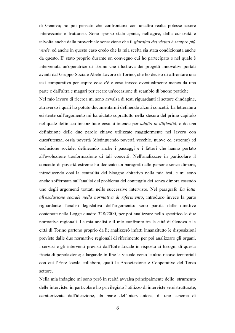 Anteprima della tesi: Le problematiche dell'adulto in difficoltà: Genova e Torino due realtà a confronto, Pagina 3