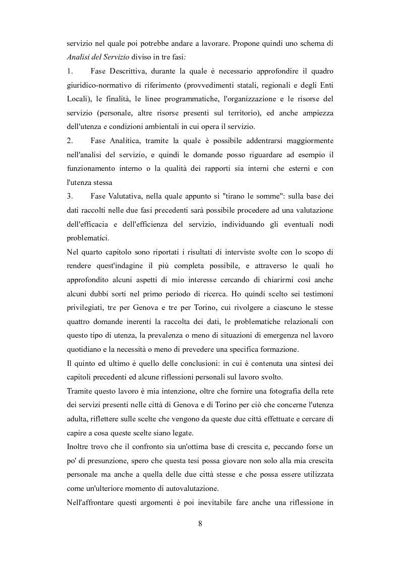 Anteprima della tesi: Le problematiche dell'adulto in difficoltà: Genova e Torino due realtà a confronto, Pagina 5