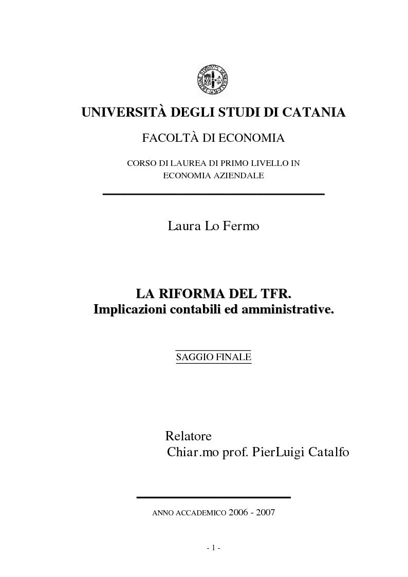 Anteprima della tesi: La Riforma del TFR. Implicazioni contabili ed amministrative., Pagina 1