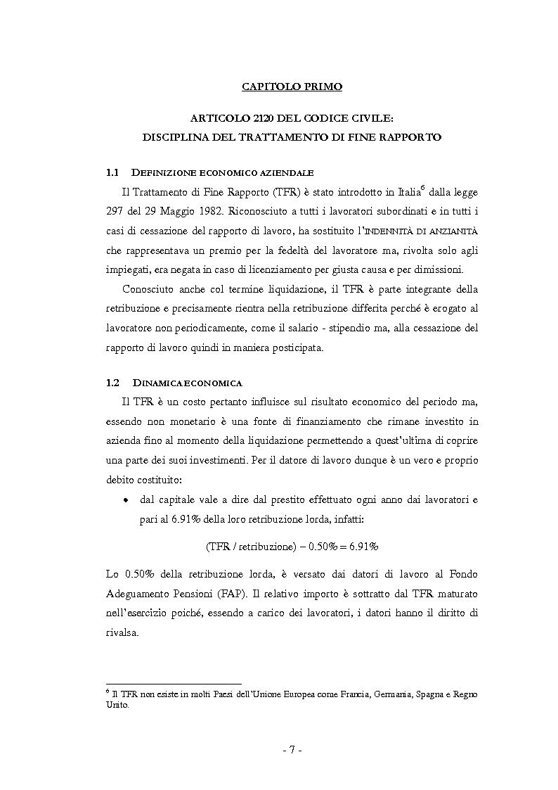 Anteprima della tesi: La Riforma del TFR. Implicazioni contabili ed amministrative., Pagina 2