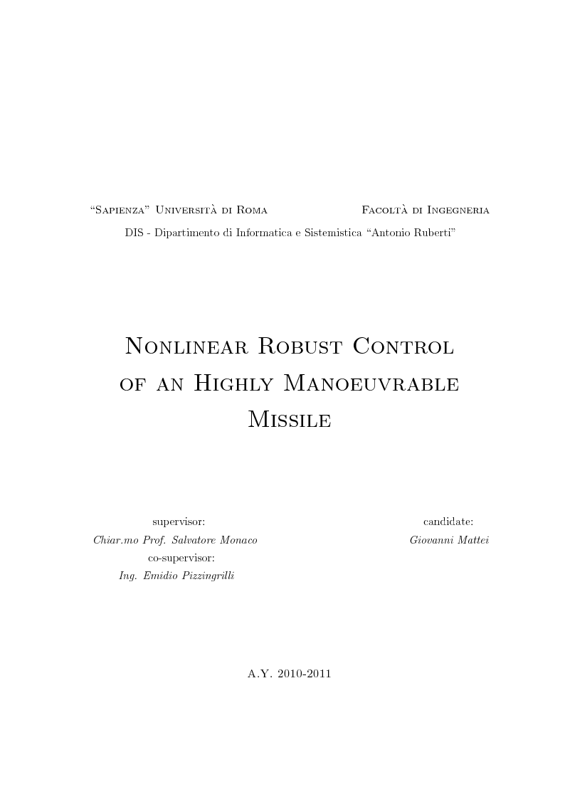 Anteprima della tesi: Nonlinear Robust Control of an Highly Manoeuvrable Missile, Pagina 1
