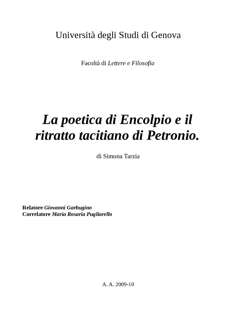 Anteprima della tesi: La poetica di Encolpio e il ritratto tacitiano di Petronio., Pagina 1