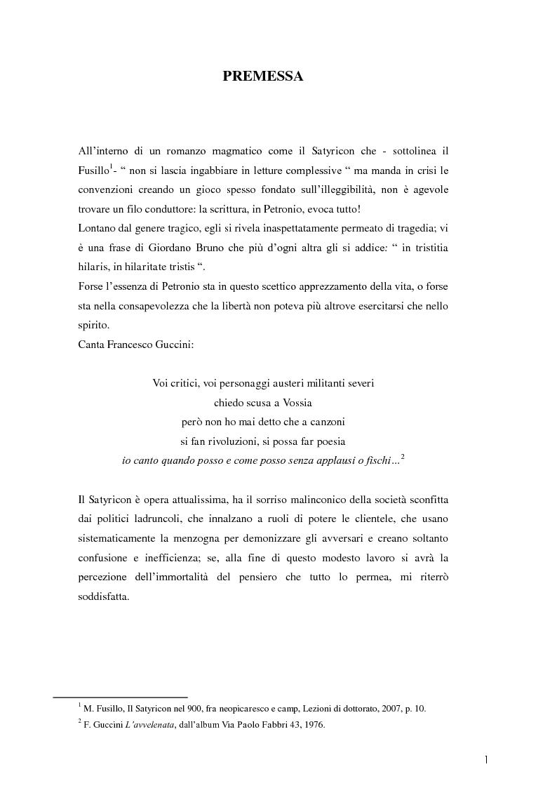 Anteprima della tesi: La poetica di Encolpio e il ritratto tacitiano di Petronio., Pagina 3