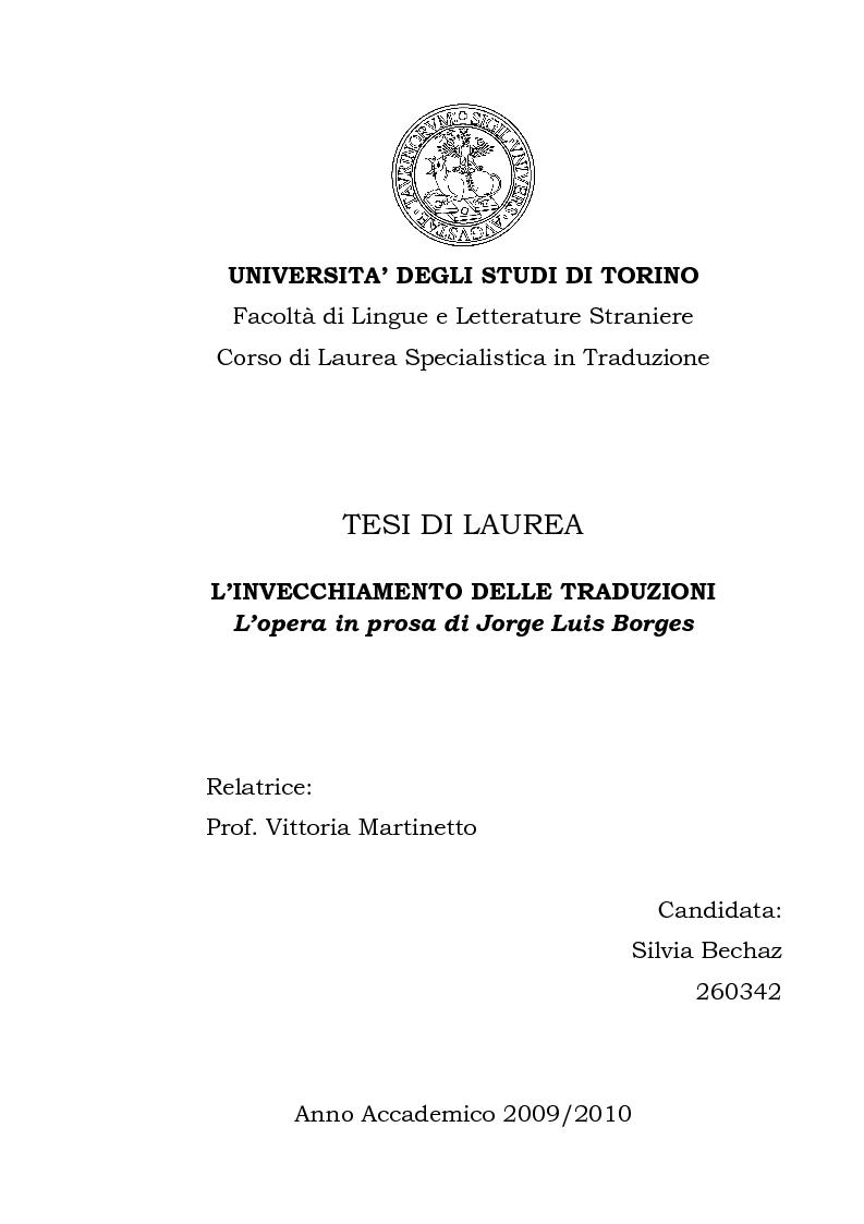 Anteprima della tesi: L'invecchiamento delle traduzioni. L'opera in prosa di Jorge Luis Borges, Pagina 1