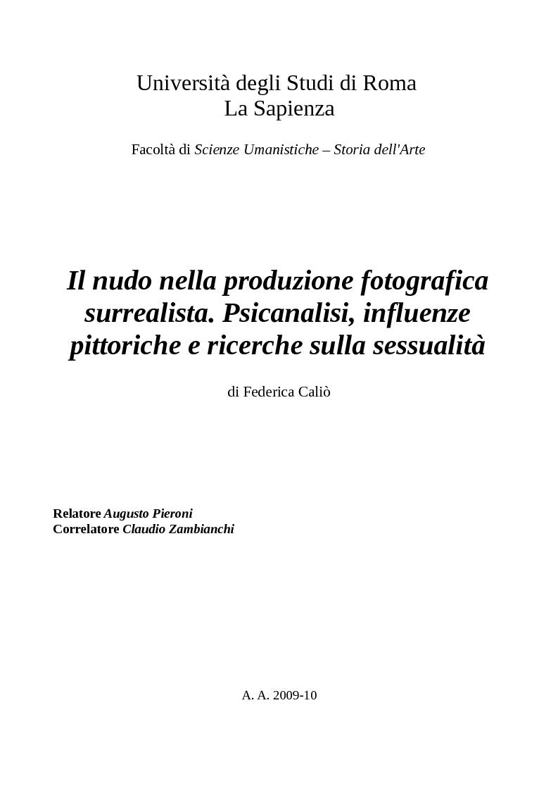 Anteprima della tesi: Il nudo nella produzione fotografica surrealista. Psicanalisi, influenze pittoriche e ricerche sulla sessualità, Pagina 1
