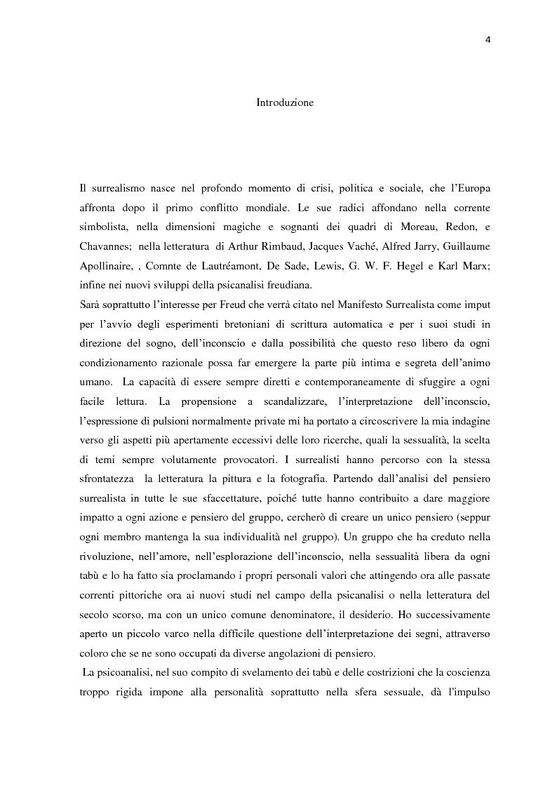 Anteprima della tesi: Il nudo nella produzione fotografica surrealista. Psicanalisi, influenze pittoriche e ricerche sulla sessualità, Pagina 2