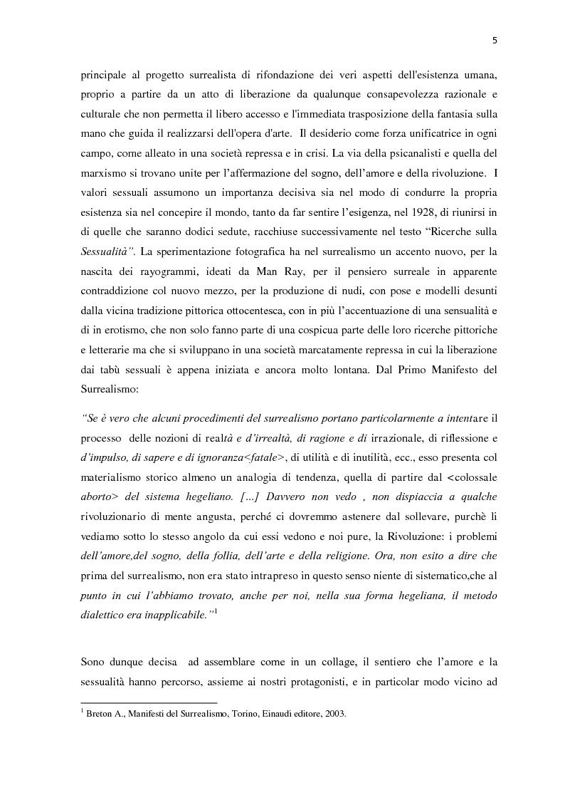 Anteprima della tesi: Il nudo nella produzione fotografica surrealista. Psicanalisi, influenze pittoriche e ricerche sulla sessualità, Pagina 3