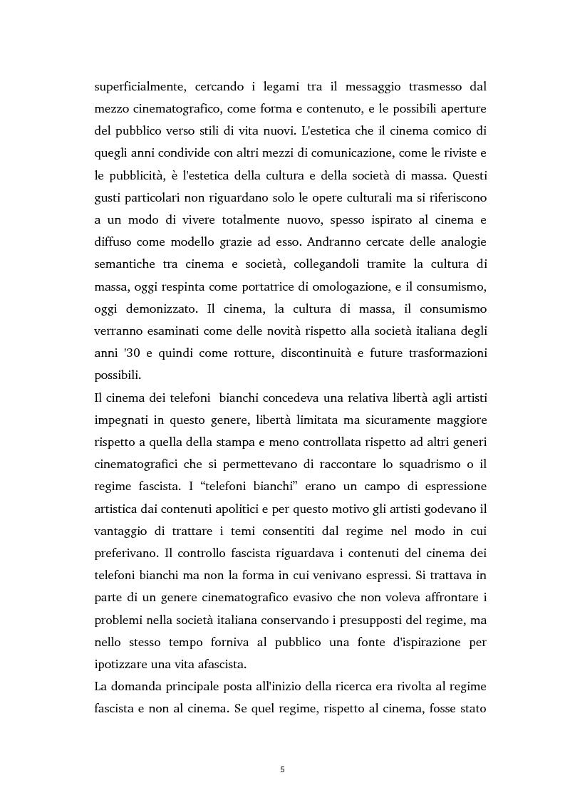Anteprima della tesi: Tra ideologia e consumo - il fascismo e il cinema dei telefoni bianchi, Pagina 5