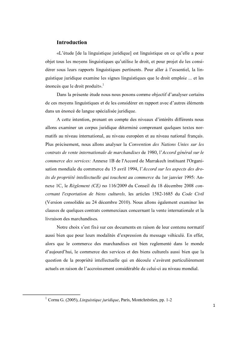 Anteprima della tesi: Aspects lexicaux et syntaxiques de la langue juridique en tant que langue spécialisée dans un corpus du droit international privé dans le domaine contractuel, Pagina 2