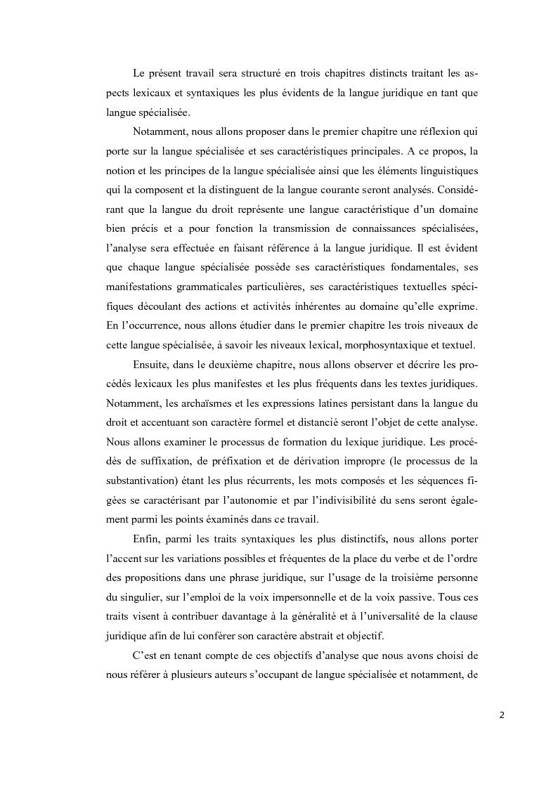 Anteprima della tesi: Aspects lexicaux et syntaxiques de la langue juridique en tant que langue spécialisée dans un corpus du droit international privé dans le domaine contractuel, Pagina 3