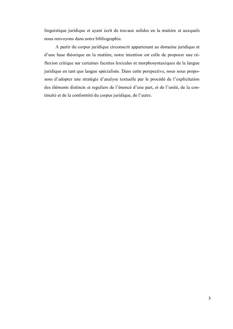 Anteprima della tesi: Aspects lexicaux et syntaxiques de la langue juridique en tant que langue spécialisée dans un corpus du droit international privé dans le domaine contractuel, Pagina 4