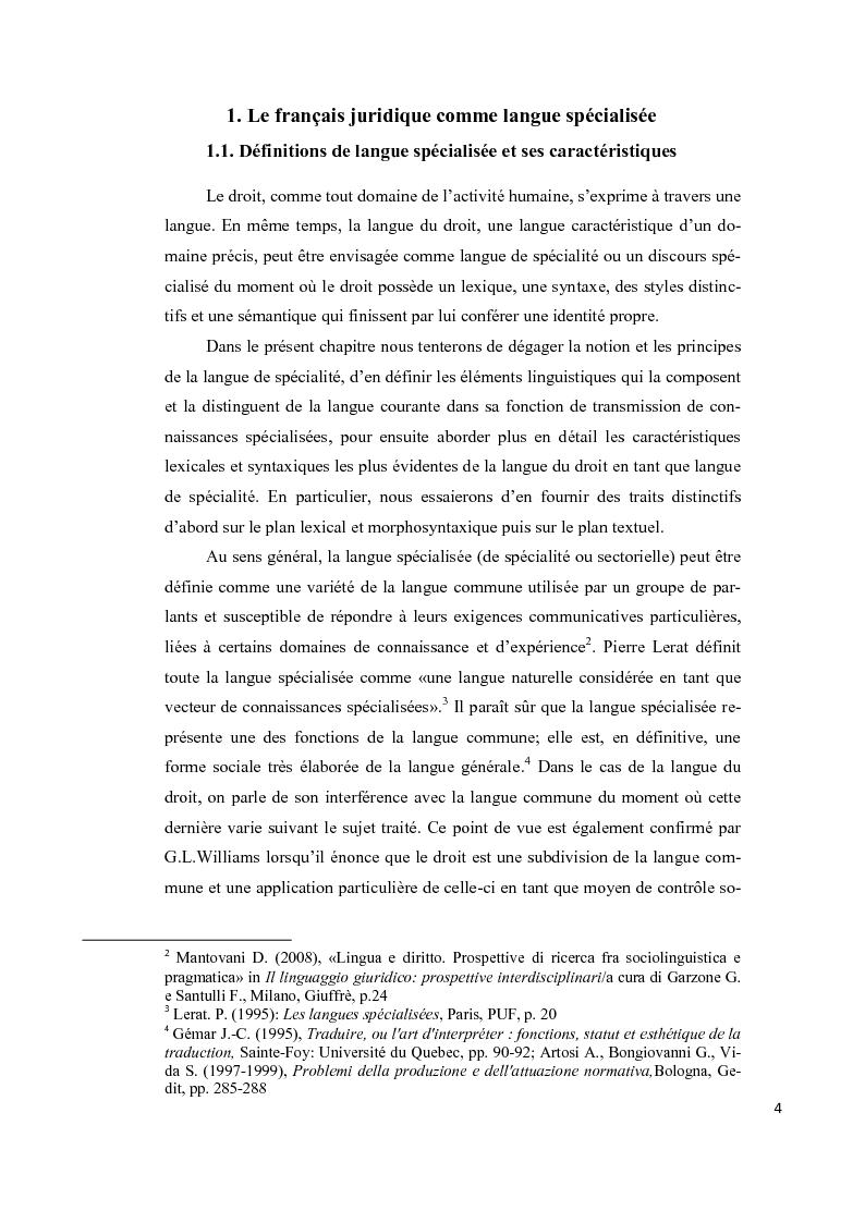 Anteprima della tesi: Aspects lexicaux et syntaxiques de la langue juridique en tant que langue spécialisée dans un corpus du droit international privé dans le domaine contractuel, Pagina 5