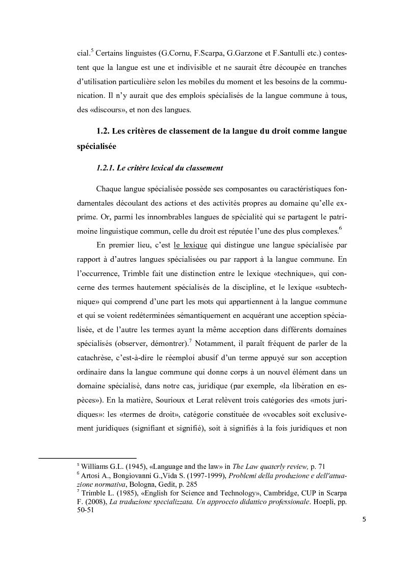 Anteprima della tesi: Aspects lexicaux et syntaxiques de la langue juridique en tant que langue spécialisée dans un corpus du droit international privé dans le domaine contractuel, Pagina 6
