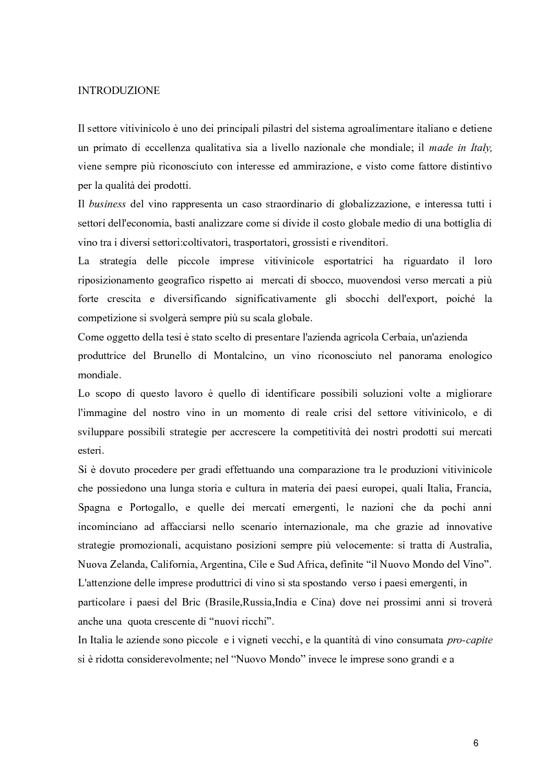 Anteprima della tesi: Strategie di espansione internazionale delle piccole imprese vitivinicole: l'Azienda Agricola Cerbaia, Pagina 2