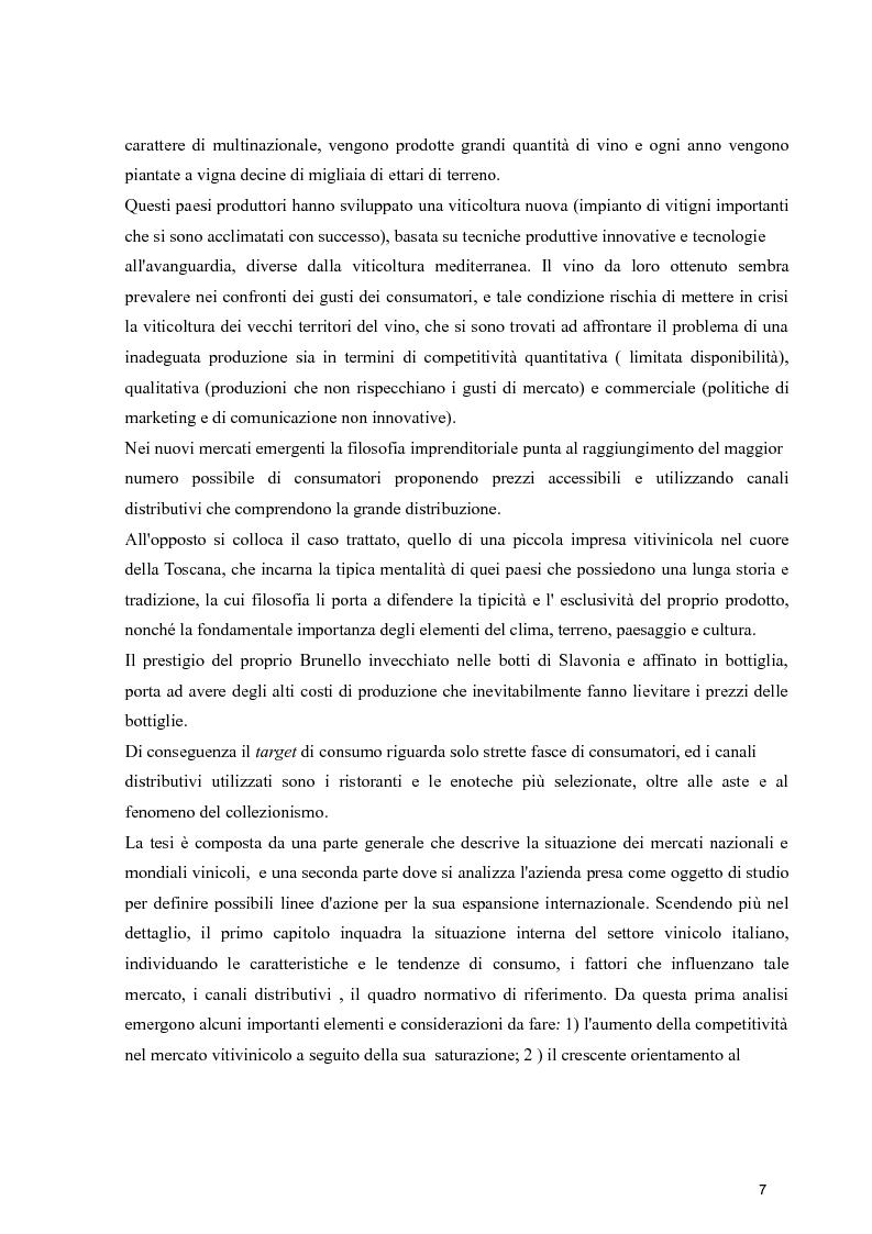 Anteprima della tesi: Strategie di espansione internazionale delle piccole imprese vitivinicole: l'Azienda Agricola Cerbaia, Pagina 3