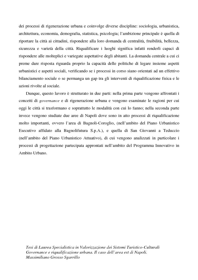 Anteprima della tesi: Governance e riqualificazione urbana. Il caso dell'area est di Napoli, Pagina 3