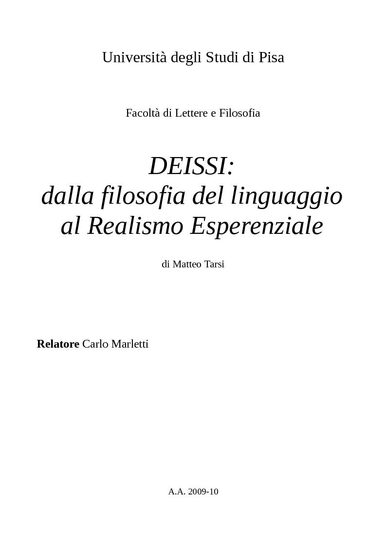 Anteprima della tesi: DEISSI: dalla Filosofia del Linguaggio al Realismo Esperenziale, Pagina 1