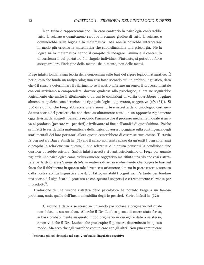 Anteprima della tesi: DEISSI: dalla Filosofia del Linguaggio al Realismo Esperenziale, Pagina 5