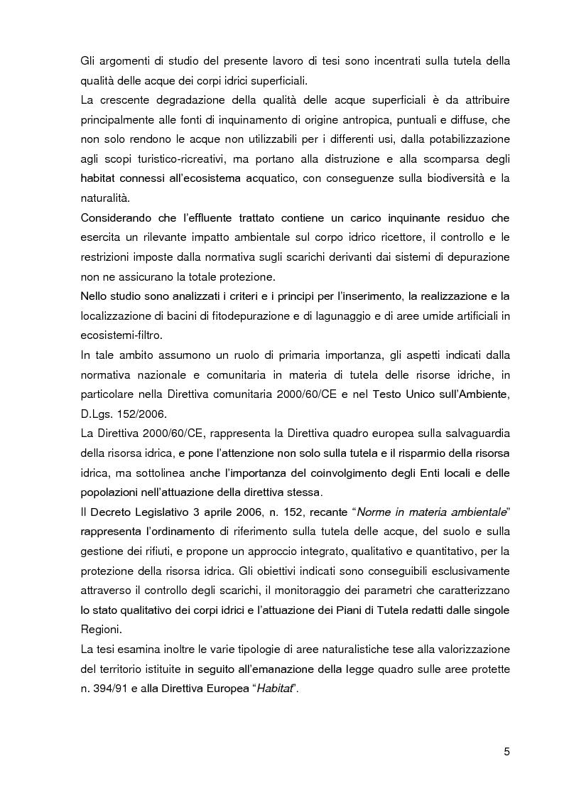 Anteprima della tesi: Bacini di trattamento e aree umide artificiali per la realizzazione di eco-sistemi filtro, Pagina 3