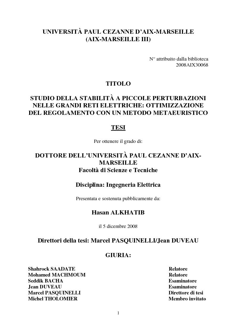Anteprima della tesi: Studio della stabilità a piccole perturbazioni nelle grandi reti elettriche: ottimizzazione del regolamento con un metodo metaeuristico, Pagina 1