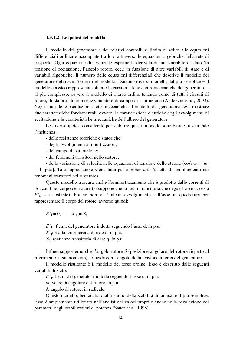 Anteprima della tesi: Studio della stabilità a piccole perturbazioni nelle grandi reti elettriche: ottimizzazione del regolamento con un metodo metaeuristico, Pagina 13