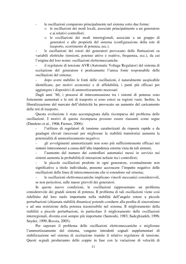 Anteprima della tesi: Studio della stabilità a piccole perturbazioni nelle grandi reti elettriche: ottimizzazione del regolamento con un metodo metaeuristico, Pagina 3