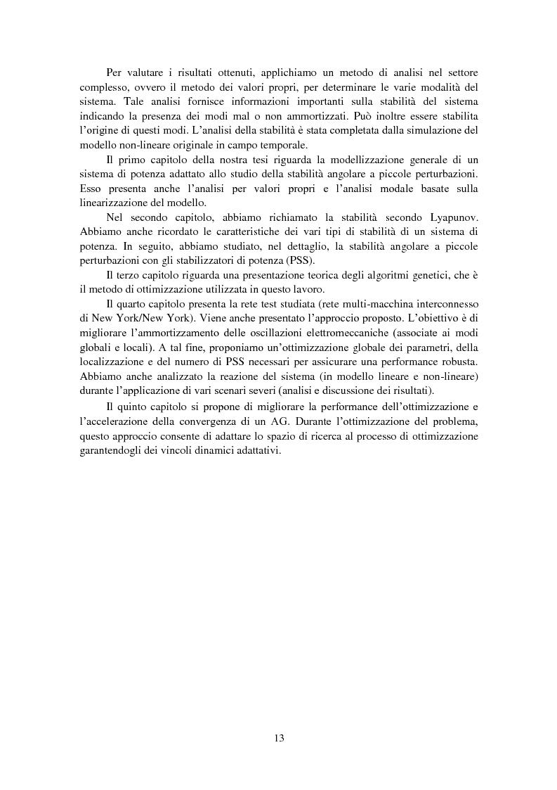 Anteprima della tesi: Studio della stabilità a piccole perturbazioni nelle grandi reti elettriche: ottimizzazione del regolamento con un metodo metaeuristico, Pagina 5