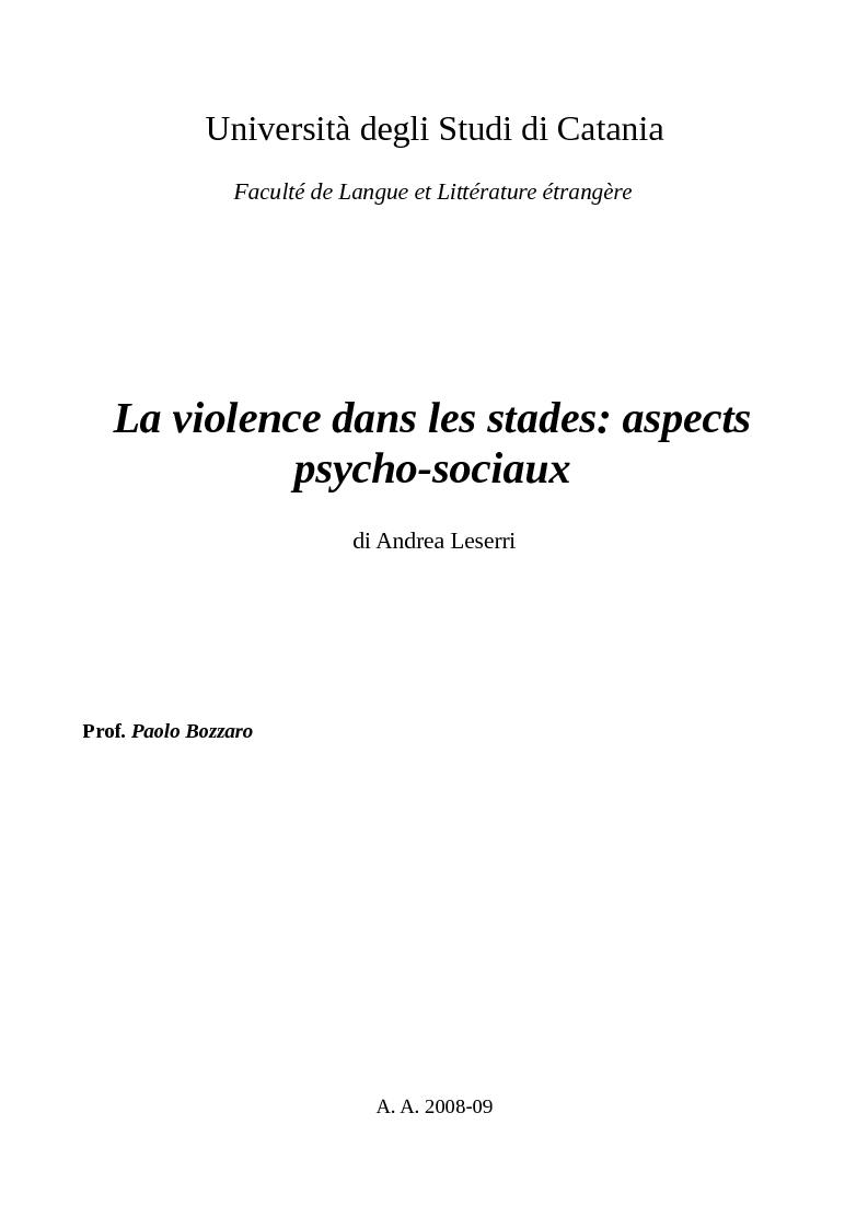 Anteprima della tesi: La violence dans les stades: aspects psycho-sociaux, Pagina 1