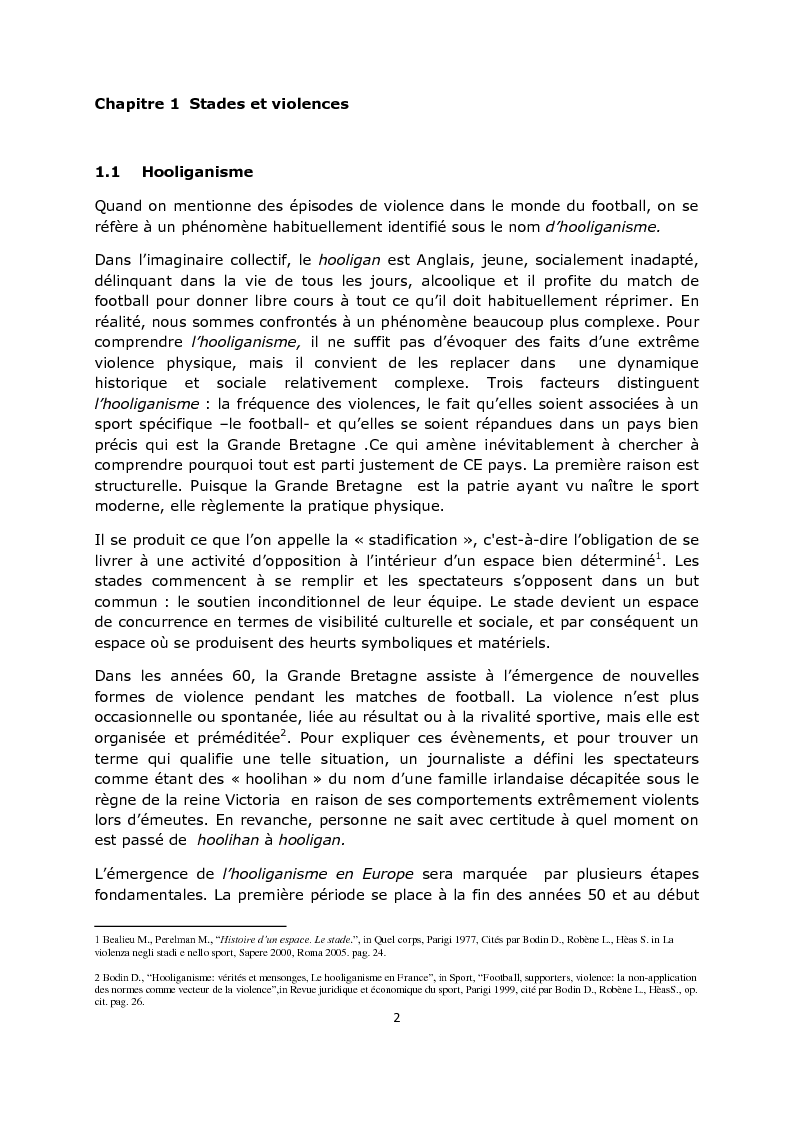 Anteprima della tesi: La violence dans les stades: aspects psycho-sociaux, Pagina 3